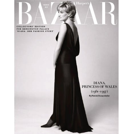 Princess Diana collector's edition cover Harper's Bazaar magazine designed exclusively for Diana: Her Fashion Story.