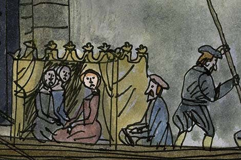 Illustration of Anne Boleyn arriving through traitor's gate by boat.