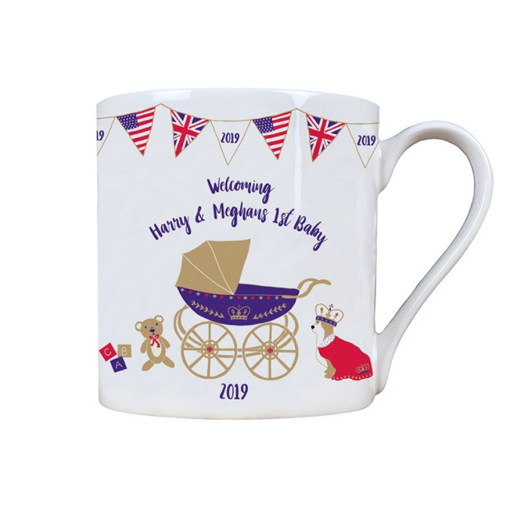 Royal Baby commemorative fine bone china mug charmingly illustrated with a beautiful marriage of British and American symbolism.