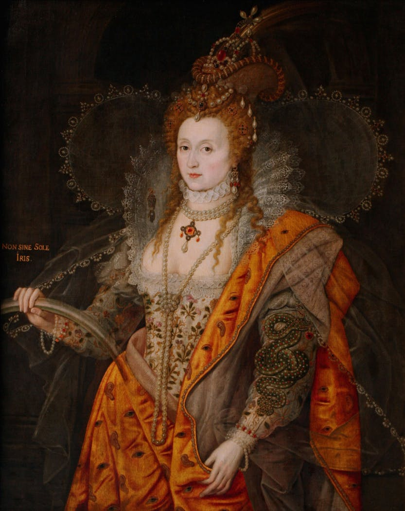 "Rainbow Portrait of Elizabeth I. Elizabeth holds a rainbow with the inscription ""Non sine sole iris"", ""No rainbow without the sun"". A jeweled serpent is entwined along her left arm, and holds from its mouth a heart-shaped ruby. Above its head is a celestial sphere. Her gown is embroidered with wildflowers and her cloak with eyes and ears."