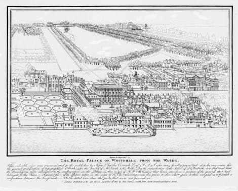 An engraving of Whitehall Palace
