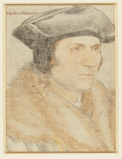 Sir Thomas More (1478-1535) c.1526-7 by HANS HOLBEIN THE YOUNGER (1497/8-1543) Black and coloured chalks, the outlines pricked for transfer