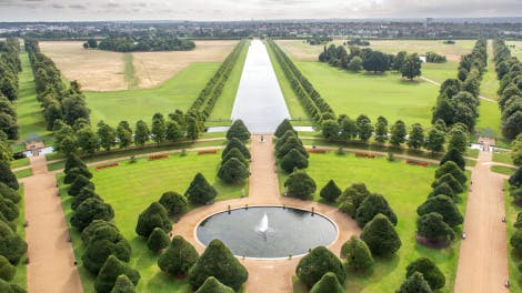 Aerial view of Great Fountain Garden looking east down Long Water into Home Park
