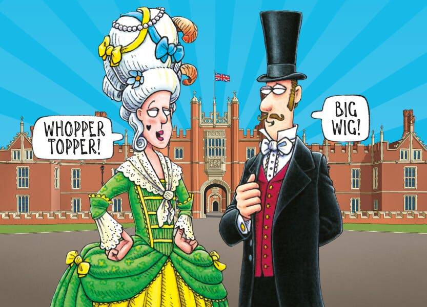 An illustration of a Georgian woman and a Victorian man standing outside Hampton Court Palace