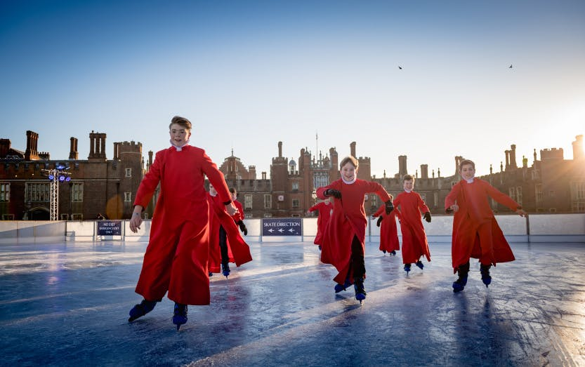 Ice rink at Hampton Court with Chapel Royal Choiresters