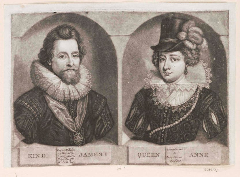 Mezzotint of James I and Anne of Denmark