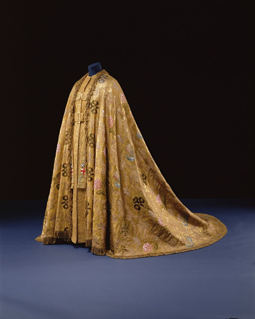The Imperial Mantle made for the coronation of George IV in 1821.  It has been worn by King George V, King George VI and Queen Elizabeth II