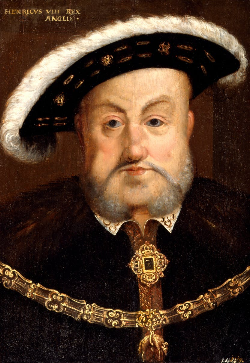 King Henry VIII after Hans Holbein the Younger oil on panel, probably 17th century, Purchased, 1871, National Portrait Gallery, NPG 324