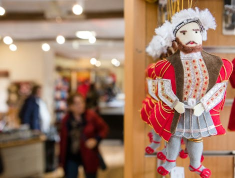 Close up of a Henry VIII hanging decoration in the Henry Shop