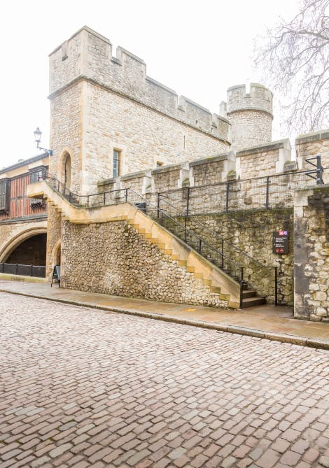 St Thomas' Tower, looking south-east towards the steps leading to the tower entrance. No visitors are seen in this image.