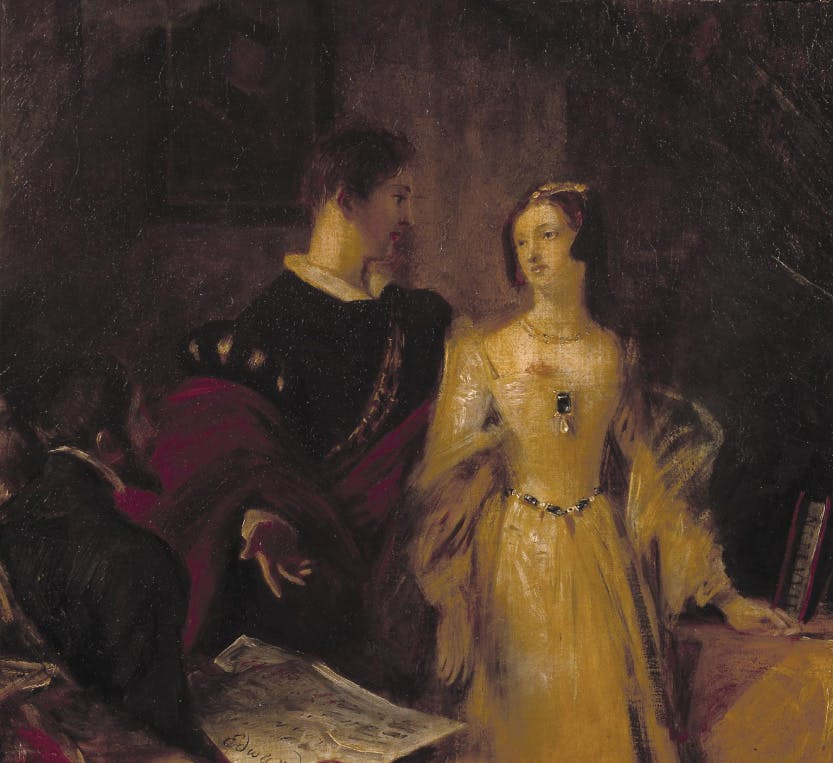 A painting depicting Lady Jane Grey being urged to accept the crown by Lord Dudley, her husband, and another male figure seated in the foreground.