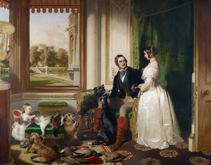 Painting of Queen Victoria and Prince Albert with their daughter, Victoria, Princess Royal, in the White Drawing Room at Windsor Castle.