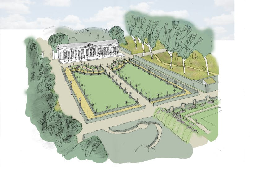 Artist's impression of the new Orangery garden