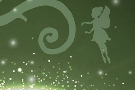 Fairy with sparkle illustration on green background