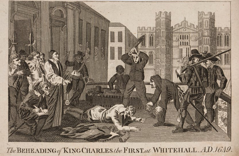 The beheading of King Charles I. The King has his head on the block with onlookers surrounding him.