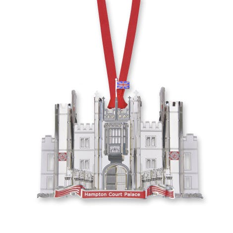 Showcasing the architecture of Hampton Court Palace this luxury decoration is silver plated brass with hand painted detailing.
