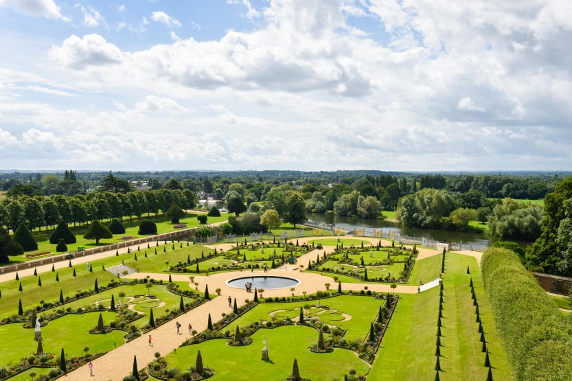 The Privy Garden as seen from the roof of Hampton Court Palace