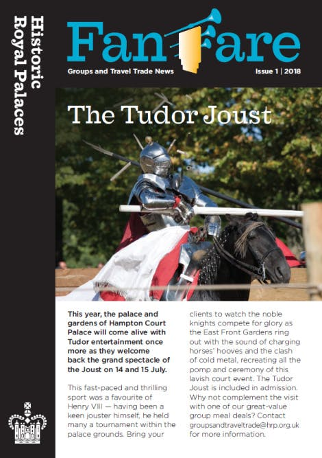 The cover of Fanfare newsletter, spring 2018 edition. The title of Fanfare is displayed in large blue lettering with an image of a jouster in full armour below to accompany the lead article.