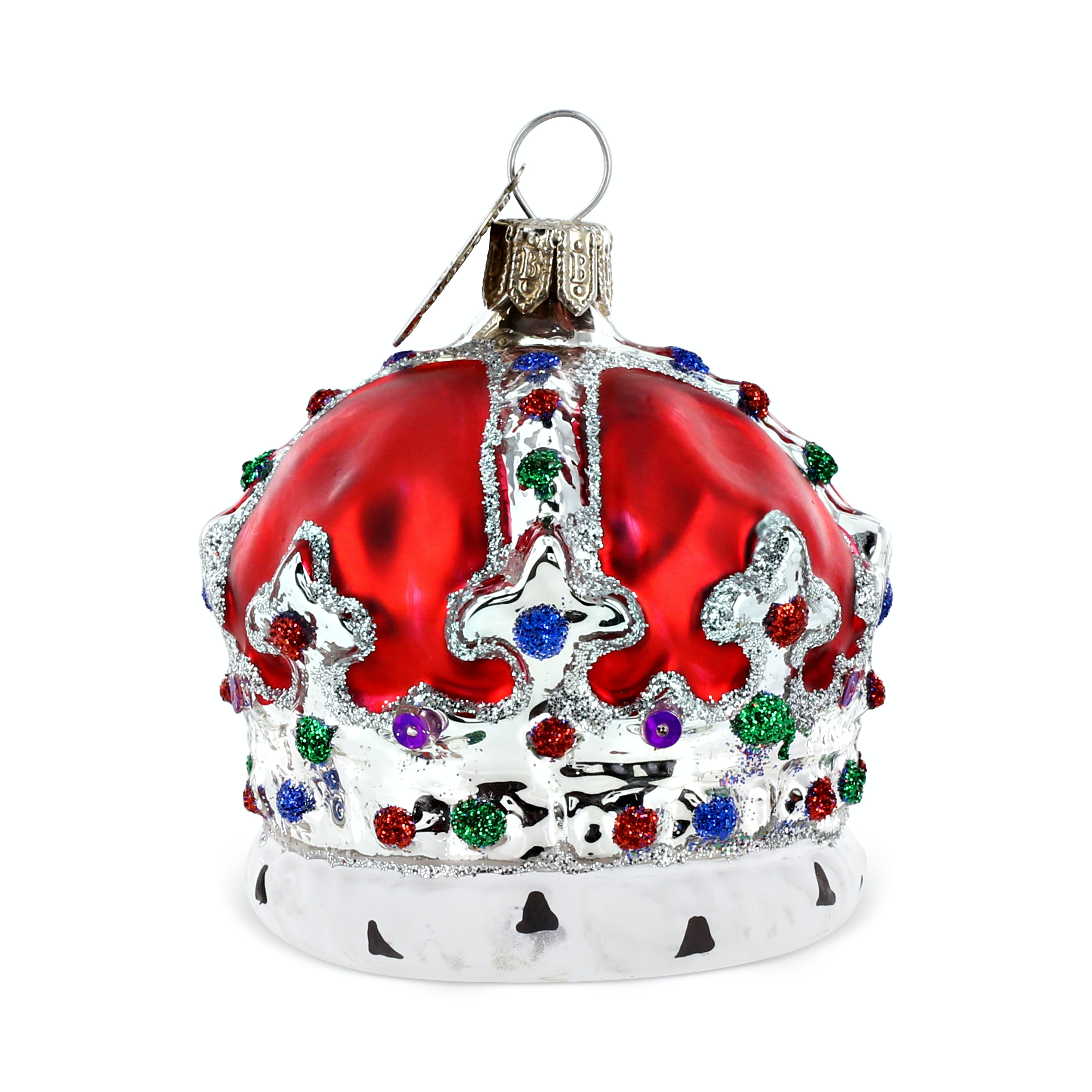 This red crown tree decoration has been blown by mouth from glass and is beautifully hand decorated with a thin layer of silver plate added to the inside.