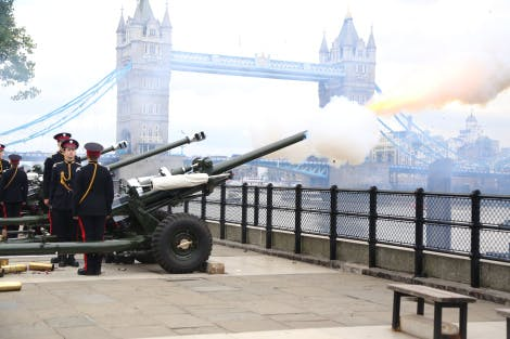 A canon fires with visible shot, as part of the 41 round gun salute to mark the State Visit of the King of Spain, 12 July 2017