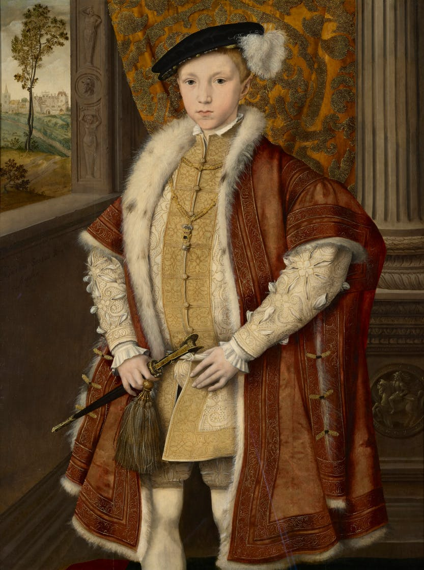 Edward VI (1537-53). The young prince wears a russet satin gown with hanging sleeves, trimmed with velvet, embroidered with gold thread and lined with lynx fur.  Royal Collection Trust/© Her Majesty Queen Elizabeth II