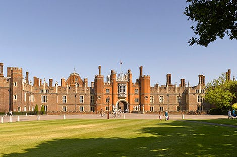 Panoramic view of the famous west front of Hampton Court showing the Tudor half of the palace.