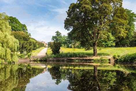 Hillsborough Castle Gardens, looking east across the pond towards Yew Tree Walk.
