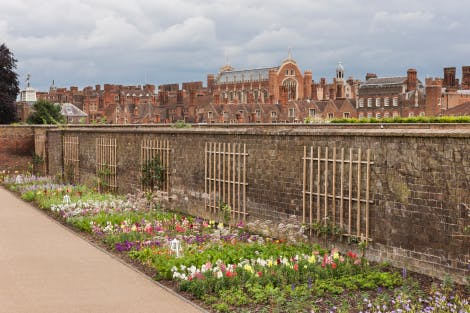 The Kitchen Garden, looking south-east. Showing a flowerbed with summer planting along the pathway in the foreground and Hampton Court Palace behind the brick garden wall in the background.