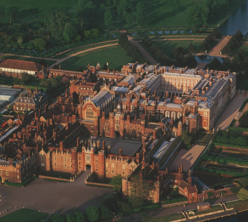 An aerial view of Hampton Court Palace
