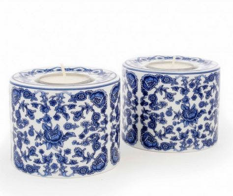 Exquisite tea light holders in fine bone china, inspired by the ceramic collection of Queen Mary II.