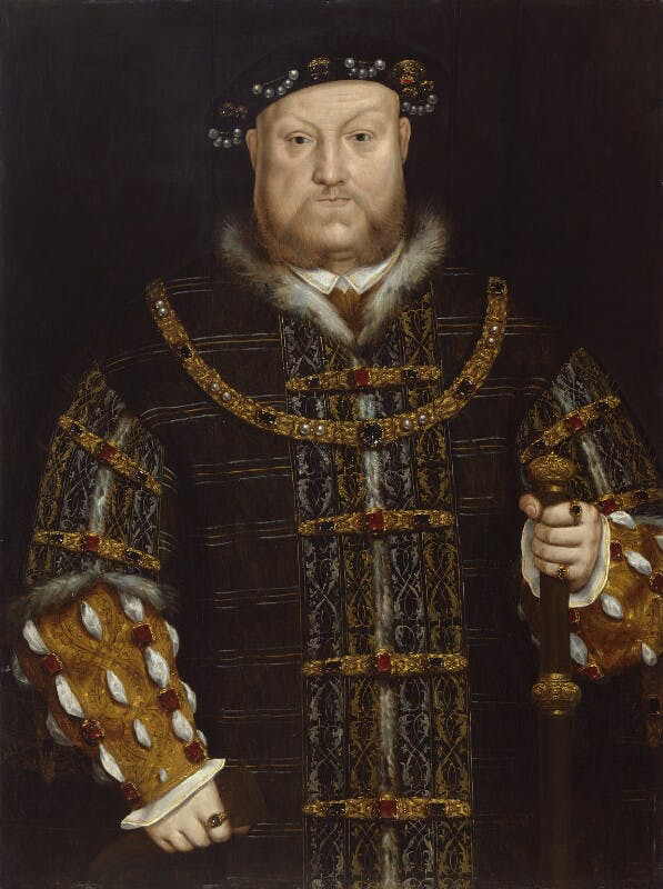 A portrait of Henry VIII, richly dressed and bejewelled by an unknown artist.