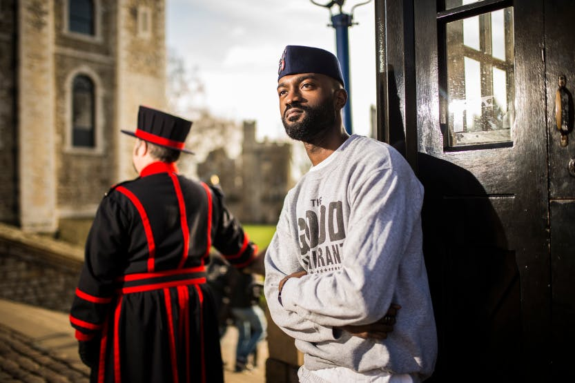 Inua Ellams, the Tower of London's Poet in Residence for 2018, poses at the Tower for the Confessions at the Tower series.