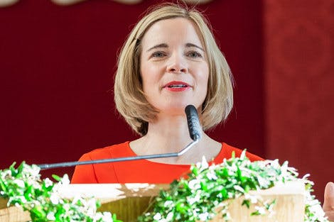 Lucy Worsley, Joint Chief Curator at Historic Royal Palaces, speaks at a reception